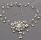 White Series White Freshwater Pearl and Clear Crystal Bridal Crocheted Necklace