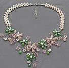 White Freshwater Pearl and Pink Crystal and Green Crystal Flower Crocheted Necklace