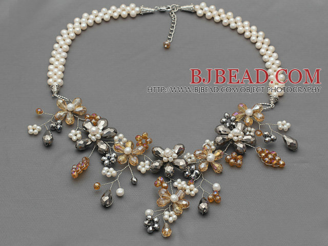 White Series White Freshwater Pearl and Orange and Gray Color Crystal Flower Necklace