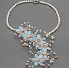 Elegant Style White Freshwater Pearl and Opal Flower Crocheted Necklace under $ 40