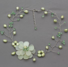 Light Green Series Green Freshwater Pearl and Green Crystal and Serpentine Jade Flower Crocheted Necklace