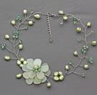 Light Green Series Grøn Ferskvandsperle og grøn Crystal og Serpentine Jade Flower Hæklede Halskæde