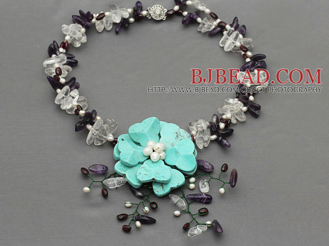 Assorted White Freshwater Pearl and Clear Crystal and Amethyst Chips Necklace with Turquoise Crocheted Flower
