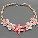 Pink Series Baby Pink Freshwater Pearl and White Pink Color Shell Flower Necklace under $ 40