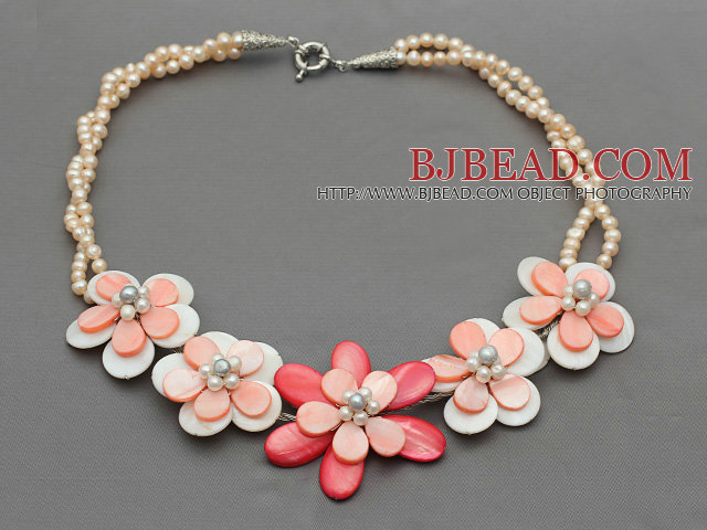 Pink Series Baby Pink Freshwater Pearl and White Pink Color Shell Flower Necklace