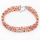 Orange and Pink Color Freshwater Pearl Wire Crocheted Choker Necklace