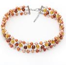 Pomarańczowy i żółty i różowy słodkowodne Kolor przewodu Crocheted Choker Necklace Pearl