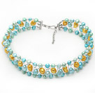 Assorted Light Blue and Yellow Color Freshwater Pearl Wire Crocheted Choker Necklace