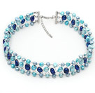 Blue Series Blue Color Freshwater Pearl Wire Crocheted Choker Necklace