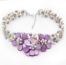 Elegant Style Violet Series Violet and Light Green Pearl and Violet Shell Flower Crocheted Necklace under $ 40