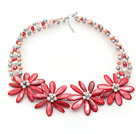Red Series White Freshwater Pearl and Red Shell Flower Crocheted Necklace under $ 40