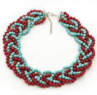 Red and Green Series Bold Style Round 6mm Red Coral and Turquoise Beads Woven Necklace under $ 40