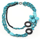Multi Strands Green Turquoise Chips and Black Agate Flower Necklace under $ 40