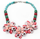 Assorted Green Turquoise and Alaqueca and Pearl Shell Flower Necklace under $ 40