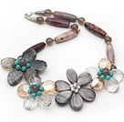 Grijs Series Barrel Shape Agaat en Gray Shell en Turquoise Flower Ketting