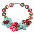 Red and Green Series Donut Shape Carnelian and Green Turquoise and White Pearl Flower Necklace under $ 40