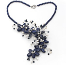 Dark Blue Series Lapis and White Freshwater Pearl Flower Party Necklace