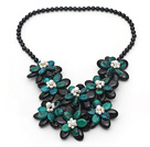 Black and Green Series Black Agate and Phoenix Flower Party Necklace