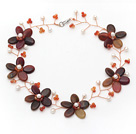 White Freshwater Pearl and Three Colored Jade Flower Wire Crocheted Necklace