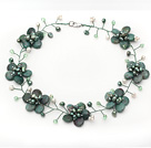 Green Series Green Dragon Stone en Groene Parel Crystal Flower Wire Gehaakte ketting