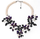 White Freshwater Pearl and Black Purple Color Crystal Flower Party Necklace