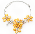 Yellow Series Yellow Shell and White Freshwater Pearl Flower Necklace with Glass Beads Chain