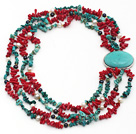 Assorted Multi Strands Red Coral and Turquoise Chips Necklace with Turquoise Clasp under $ 40