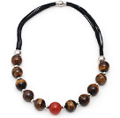 Round Shape Tiger Eye and Carnelian Leather Necklace with Magnetic Clasp
