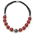 Red Series Round Fire Agate Leather Necklace with Magnetic Clasp