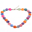 Beautiful Fashion Multi Color Heart Shape Fire Agate Necklace