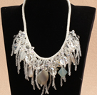 Luxurious Sparkly Clear Crystal Agate Tassel Bib Statement Party Necklace