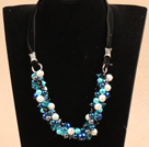 Fashion Blue & Black Series Crystal Seashell Beads Necklace
