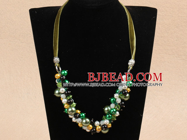 Fashion Yellow & Green Series Christmas Crystal Seashell Beads Necklace