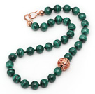 Single Strand A Grade 12mm Round Malachite Beaded Knotted Necklace