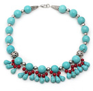 Single Strand Assorted Round and Teardrop Turquoise and Red Coral Necklace