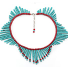 Round Green Turquoise and Red Coral Tassel Necklace with Extendable Chain