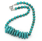 Single Strand Assorted Green Turquoise Necklace with Metal Spacer Beads