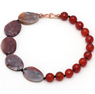Assorted Faceted Carnelian and Agate Slice Necklace with Black Agate Spacer Beads