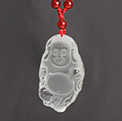 Red Carnelian Necklace with Clear Crystal Laughing Buddha Pendant