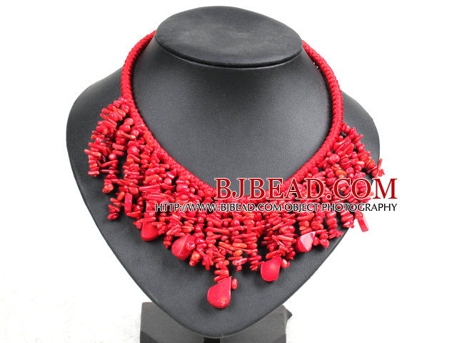 Marvelous Statement Red Coral Chips Hand-Knitted Bib Necklace