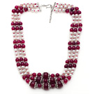 Multi Strands White Freshwater Pearl and Purple Red Agate Necklace with Extendable Chain