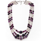Multi Strands White Freshwater Pearl and Purple Agate Necklace with Extendable Chain