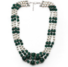 Multi Strands White Freshwater Pearl and Green Agate Necklace with Extendable Chain