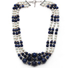 Multi Strands White Freshwater Pearl and Lapis Stone Necklace with Extendable Chain