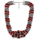 Multi Strands Gray Freshwater Pearl and A Grade Carnelian Necklace with Extendable Chain
