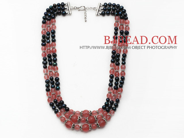 Multi Strands Black Freshwater Pearl and Pink Cherry Quartz Necklace with Extendable Chain