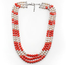 Multi Strands White Freshwater Pearl and Pink Coral Necklace with Extendable Chain under $ 40