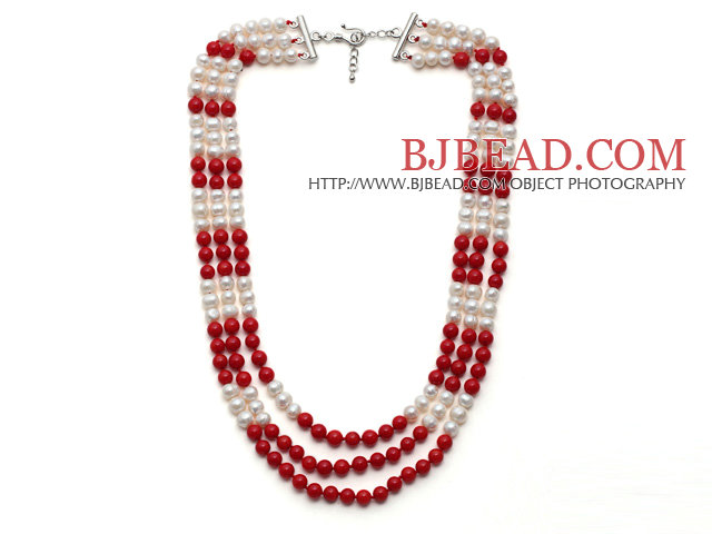 Multi Strands White Freshwater Pearl and Red Coral Necklace with Extendable Chain