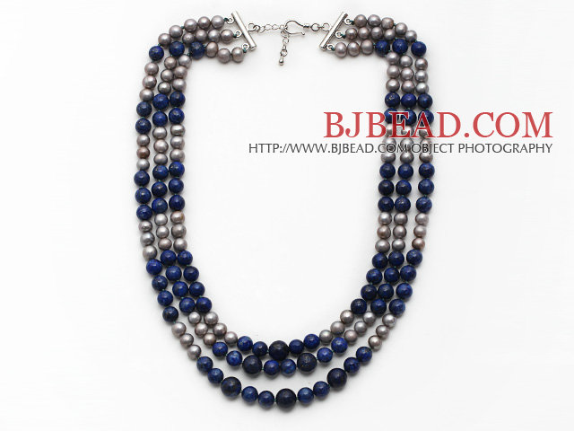 Multi Strands Gray Freshwater Pearl and Lapis Necklace with Extendable Chain