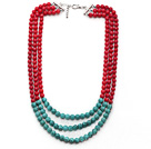 Multi Strands Round Red Coral and Turquoise Necklace with Extendable Chain under $ 40